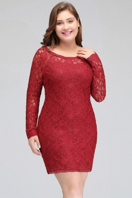 Column Scoop Short Winter Plus size Lace Burgundy Cocktail Dresses_6