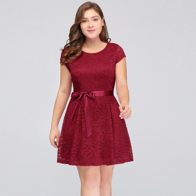 Summer Scoop Short Plus size With Sleeves Lace Burgundy Cocktail Dresses with Bow_8