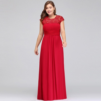 Summer Crew Floor length Plus size Cap sleeves Lace Chiffon Evening Dresses with Appliques_4