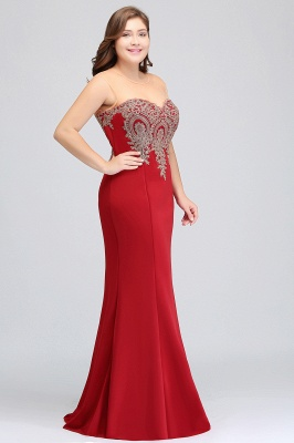 Sexy Trumpt Crew Illusion Plus size Long Sleeveless Burgundy Formal Dresses with Appliques_17