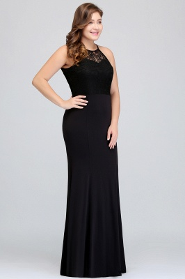 Sexy Trumpt Halter Floor Length Plus size Black Evening Dresses with Lace_4