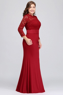 Sexy Trumpt Crew Floor Length Plus size Lace Formal Dresses with Sash_8