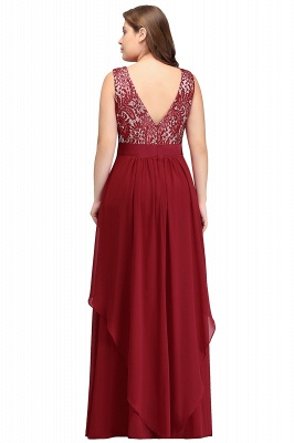 Summer Scoop Plus size Long Sleeveless Lace Appliques Chiffon Evening Dresses_3