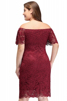 Sexy Trumpt Off-Shoulder Short Plus size Lace Burgundy Cocktail Dresses with Sleeves_3
