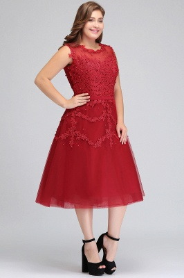 Summer Crew Tea Length Plus size Sleeveless Tulle Burgundy Cocktail Dresses with Appliques_3