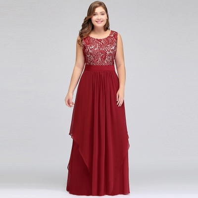Summer Scoop Plus size Long Sleeveless Lace Appliques Chiffon Evening Dresses_9