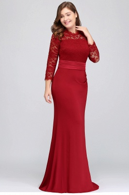 Sexy Trumpt Crew Floor Length Plus size Lace Formal Dresses with Sash_3