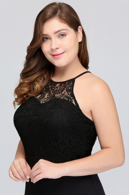 Sexy Trumpt Halter Floor Length Plus size Black Evening Dresses with Lace_6