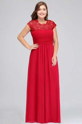Summer Crew Floor length Plus size Cap sleeves Lace Chiffon Evening Dresses with Appliques_10