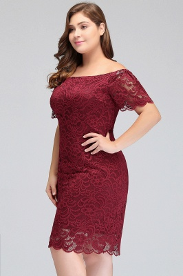 Sexy Trumpt Off-Shoulder Short Plus size Lace Burgundy Cocktail Dresses with Sleeves_5