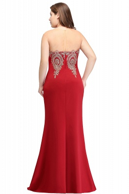 Sexy Trumpt Crew Illusion Plus size Long Sleeveless Burgundy Formal Dresses with Appliques_13