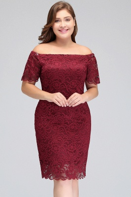 Sexy Trumpt Off-Shoulder Short Plus size Lace Burgundy Cocktail Dresses with Sleeves_8