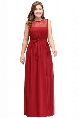 Summer Crew Long Sleeveless Plus size Chiffon Evening Dresses with Ruffles Bow_1