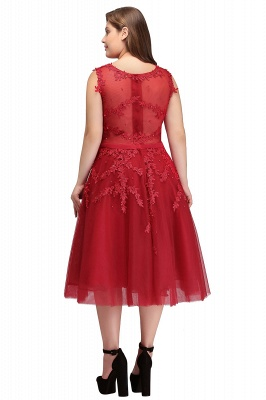 Summer Crew Tea Length Plus size Sleeveless Tulle Burgundy Cocktail Dresses with Appliques_8