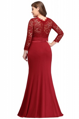 Sexy Trumpt Crew Floor Length Plus size Lace Formal Dresses with Sash_6