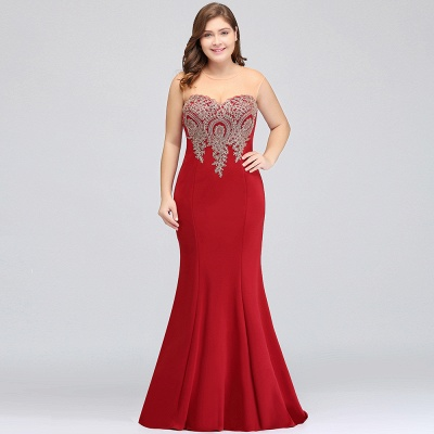 Sexy Trumpt Crew Illusion Plus size Long Sleeveless Burgundy Formal Dresses with Appliques_18