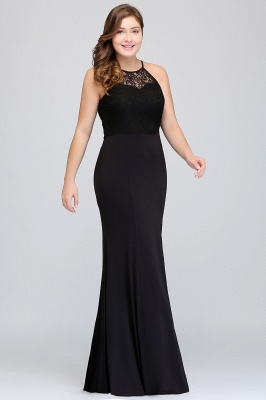 Sexy Trumpt Halter Floor Length Plus size Black Evening Dresses with Lace_8