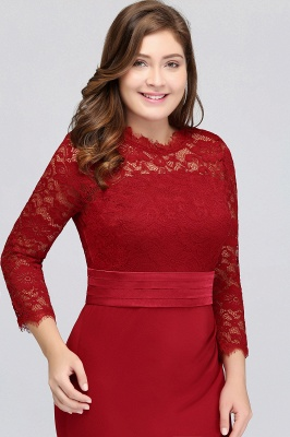 Sexy Trumpt Crew Floor Length Plus size Lace Formal Dresses with Sash_5