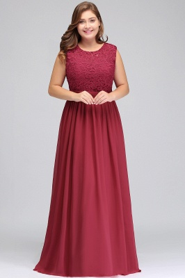Summer Crew Long Plus size Sleeveless Lace Chiffon Evening Dresses with Sash_4