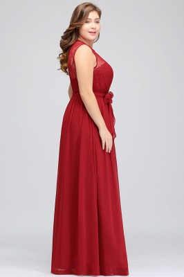 Summer Crew Long Sleeveless Plus size Chiffon Evening Dresses with Ruffles Bow_8