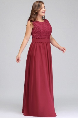 Summer Crew Long Plus size Sleeveless Lace Chiffon Evening Dresses with Sash_9