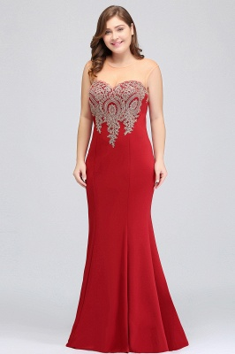 Sexy Trumpt Crew Illusion Plus size Long Sleeveless Burgundy Formal Dresses with Appliques_16