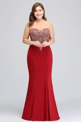 Sexy Trumpt Crew Illusion Plus size Long Sleeveless Burgundy Formal Dresses with Appliques_14