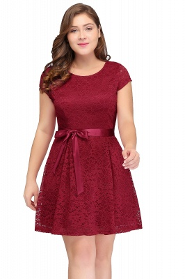 Summer Scoop Short Plus size With Sleeves Lace Burgundy Cocktail Dresses with Bow_3