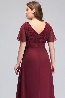 Sexy Trumpt V-neck Floor Length With Sleeves Plus size Burgundy Evening Dresses with Sash_7
