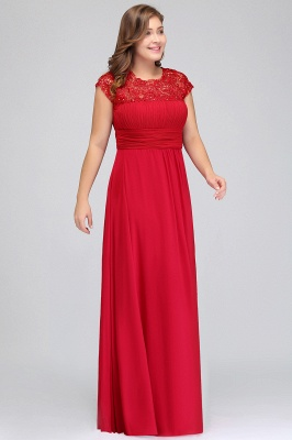 Summer Crew Floor length Plus size Cap sleeves Lace Chiffon Evening Dresses with Appliques_9