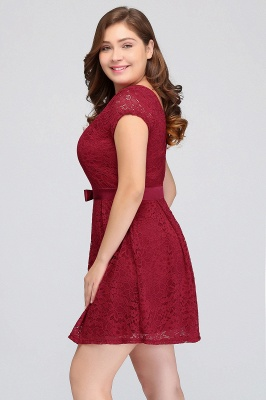 Summer Scoop Short Plus size With Sleeves Lace Burgundy Cocktail Dresses with Bow_7