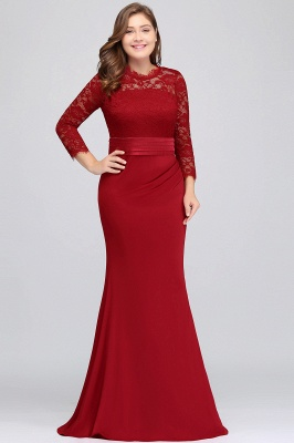 Sexy Trumpt Crew Floor Length Plus size Lace Formal Dresses with Sash_4