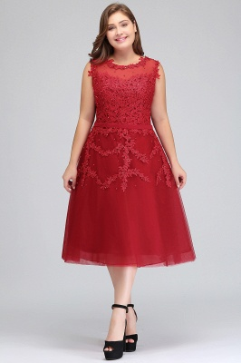 Summer Crew Tea Length Plus size Sleeveless Tulle Burgundy Cocktail Dresses with Appliques_1