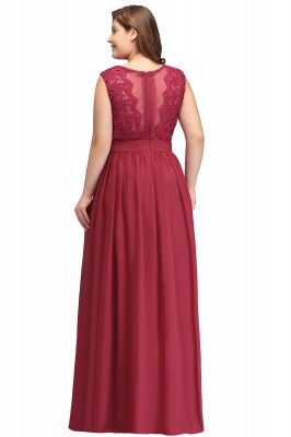 Summer Crew Long Plus size Sleeveless Lace Chiffon Evening Dresses with Sash_3
