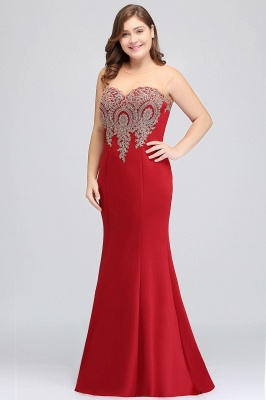 Sexy Trumpt Crew Illusion Plus size Long Sleeveless Burgundy Formal Dresses with Appliques_19
