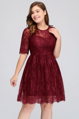 Summer Crew Plus size Half Sleeves Short Lace Burgundy Cocktail Dresses_4