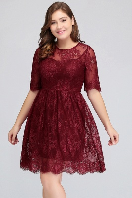 Summer Crew Plus size Half Sleeves Short Lace Burgundy Cocktail Dresses_7