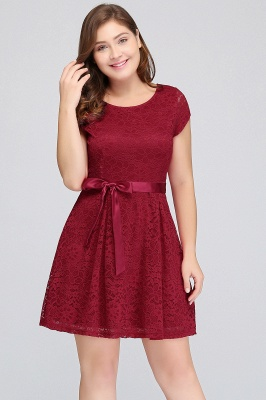 Summer Scoop Short Plus size With Sleeves Lace Burgundy Cocktail Dresses with Bow_4