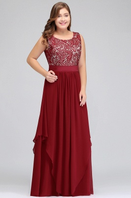 Summer Scoop Plus size Long Sleeveless Lace Appliques Chiffon Evening Dresses_6