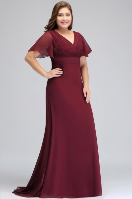 Sexy Trumpt V-neck Floor Length With Sleeves Plus size Burgundy Evening Dresses with Sash_5