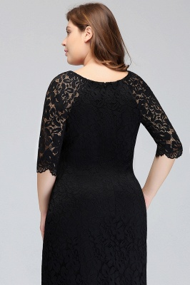 Sexy Trumpt Bateau Tea Length Plus size Lace Black Evening Dresses with sleeves_9