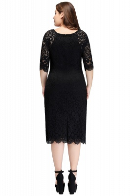 Sexy Trumpt Bateau Tea Length Plus size Lace Black Evening Dresses with sleeves_3