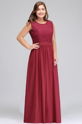 Summer Crew Long Plus size Sleeveless Lace Chiffon Evening Dresses with Sash_5