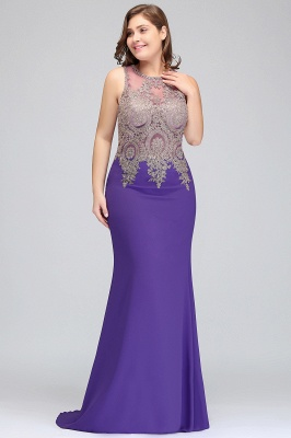 Sexy Trumpt Crew Floor Length Sleeveless Plus size Evening Dresses with Appliques_4