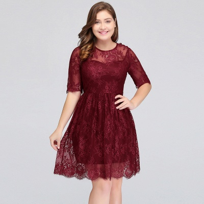 Summer Crew Plus size Half Sleeves Short Lace Burgundy Cocktail Dresses_11