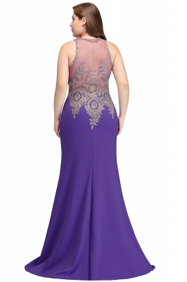 Sexy Trumpt Crew Floor Length Sleeveless Plus size Evening Dresses with Appliques_3