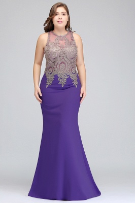 Sexy Trumpt Crew Floor Length Sleeveless Plus size Evening Dresses with Appliques_8