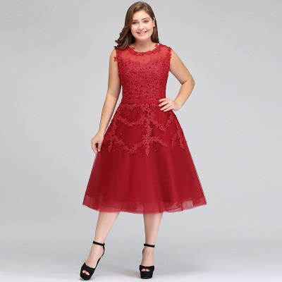 Summer Crew Tea Length Plus size Sleeveless Tulle Burgundy Cocktail Dresses with Appliques_10