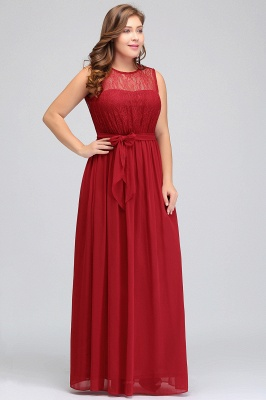 Summer Crew Long Sleeveless Plus size Chiffon Evening Dresses with Ruffles Bow_6