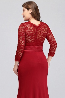 Sexy Trumpt Crew Floor Length Plus size Lace Formal Dresses with Sash_11